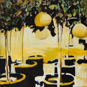lemon and Lights 60x60cm Acrylic and Oil on canvas