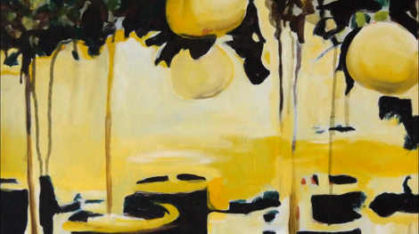 lemon and Lights 60x60cm Acrylic and Oil on canvas