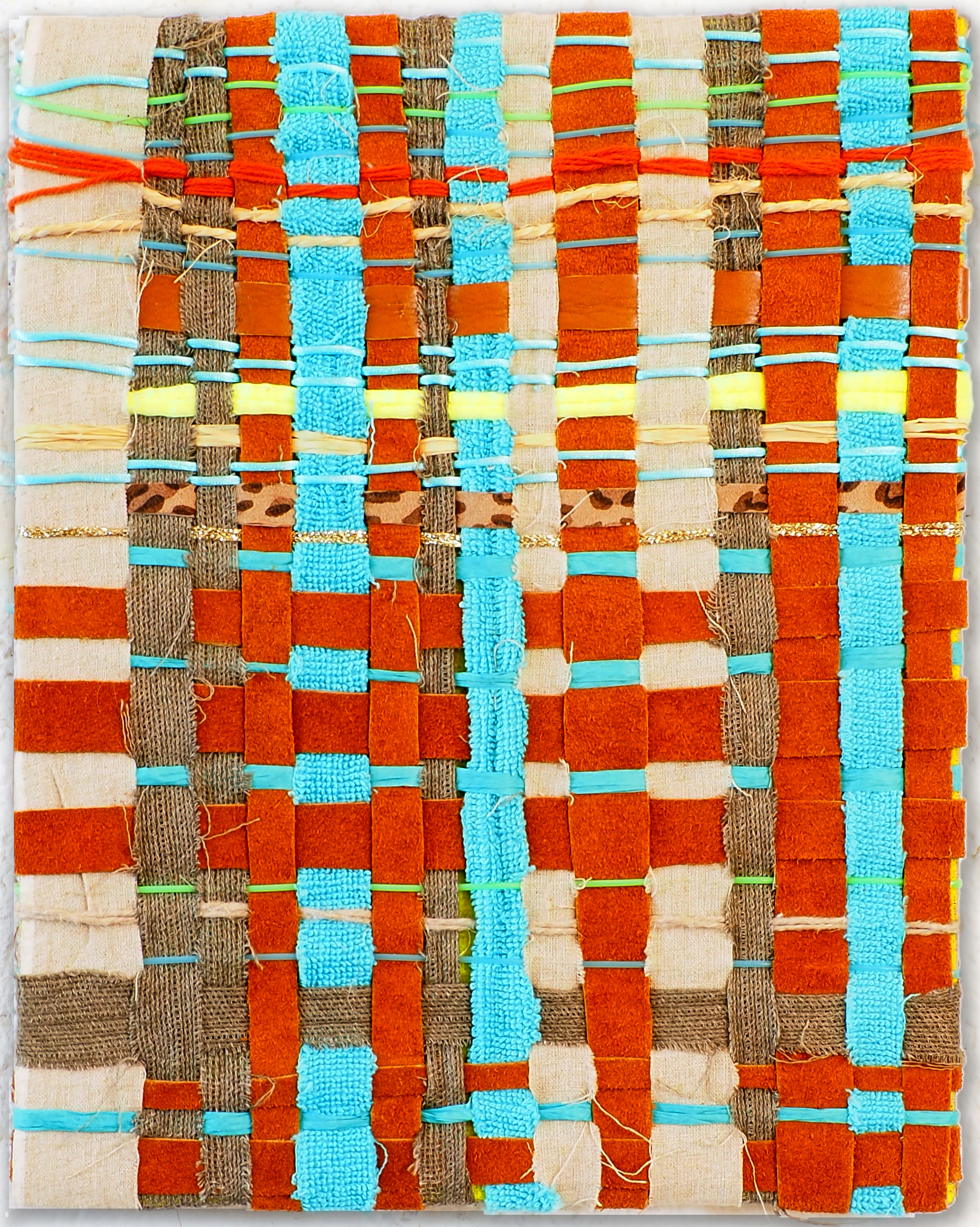 Weaving nr. 003 Material: fabric, leather, canvas, strings canvas. Year: 2016
